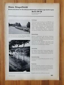 Reklame 206 Berlin Stapelfeld Küstrin Müggelsee Grundwasser /