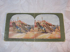 JIN RICKSHAWS FOR THE WOUNDED IN DALNY  STEREOVIEW CARD  ANTIQUE    T*