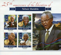 Maldives Famous People Stamps 2015 MNH Nelson Mandela Nobel Prize Winners 4v M/S