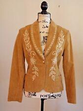 Cripple Creek Jacket Suede Leather Fancy Flowers Western Rodeo Women's Medium