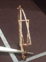 Pave 0.67 Cts Round Brilliant Cut Diamonds Bangle Bracelet In Fine 14K Rose Gold