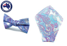 Men's Blue Silver Paisley Bowtie & Pocket Square Groomsmen Wedding Tie Hankies