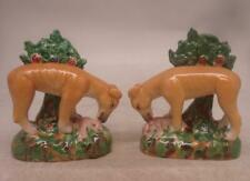 Staffordshire Pottery Pair of Figures - Hunting Dogs w/ Rabbits & Tree Bocage