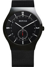 Bering Mens 11940-222 Classic Black Dial Black Stainless Steel Mesh Band Watch