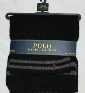 Polo Ralph Lauren Men's Black Grey Lambswool Beanie Winter Hat and Scarf NWT