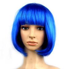 Natural Short Straight Bob Full Wig Glueless Women's Fancy Bob Wigs With Bangs P