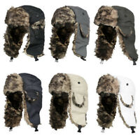 Men Women Winter Trapper Trooper Earflap Warm Russian Ski Hat Fur Bomber