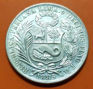 PERU 1 SOL 1885 TD LIMA SILVER COIN KM.196 PLATA República Peruana XF+