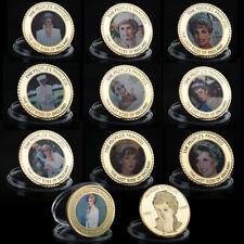 10pcs Goldmünze Medaille Lady Diana Prinzessin von Wales Sammlung Münze Set