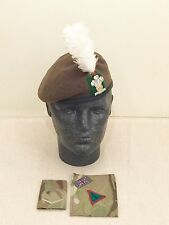 British Army Royal Welsh Beret, Badge, Hackle, Slide & MTP Brassard. Size 54cm..
