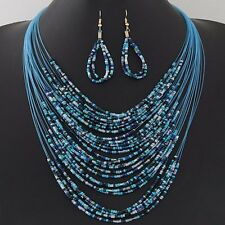 African Beads Bohemian Vintage Necklace Earrings Set Handmade Multilayer Chains