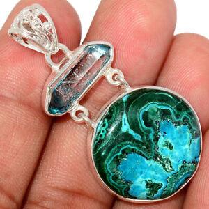Malachite In Chrysocolla & Aqua Aura Quartz 925 Silver Pendant Jewelry BP75822