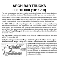 Micro-Trains 00310000 - Arch Bar Trucks Without Couplers (1011-10) 10 pair