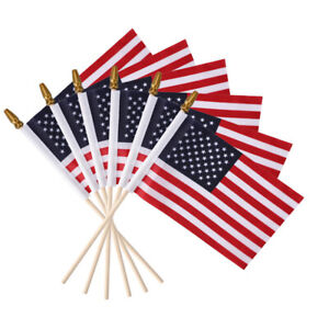 """6 Pacsk Mini US American Stick Flag 4"""" x 6"""" with Pole USA Small Handheld Flags"""