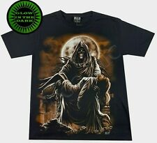 Wild Glow In The Dark Gothic T Shirt Grim Reaper Death Lady Vampire Moon Cemetry