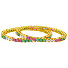 Gold Plated Ruby Emerald Color Glass & Pearl Bollywood Indian Bangle Bracelets