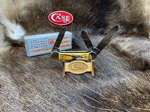 1987 Case 53131 3 Blade Canoe Knife Fat Stag Handles Mint In Box - Raised Shield