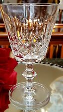 FAB 4-7oz Vintage CUT GLASS Crystal Wine Glasses RING STEMS Elongated Bullseyes!