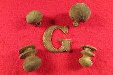 "Civil War Union Hat letter ""G"" & 2 Cadet Ball Buttons - Dug Dinwiddie, Va"