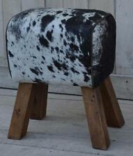 Cowhide Hair on Leather Footstool / Sidestool - Pommel Horse Style Wood Legs