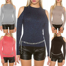 PULLOVER Sexy KouCla Coldshoulder Pulli mit Glitzerfäden Shirt Gr. 34/36/38