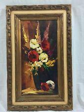 Original Oil on Canvas Still Life Flowers Anco Bilt Carved Wood Frame 32x20
