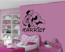 Personalizado Minnie Mouse extraíble Vinilo de Pared Arte Pegatina/Calcomanía Mural Hazlo tú mismo
