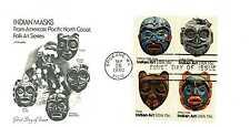 1834-37 Indian Masks Artmaster, block of 4  FDC