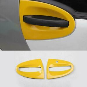 2PCS ABS Yellow Exterior Door Handle Bowl Cover Trim For Smart Fortwo 2009-2014