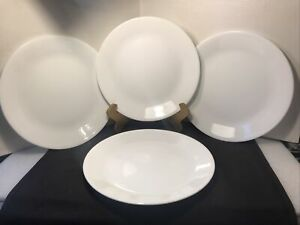 Set of 4 Corning Ware Corelle 10 1/4'' Winter Frost White Dinner Plates 10.25''