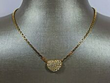 """Authentic Swarovski Swan Signed Clear Crystal Heart 18Kgp 16 1/2"""" Necklace Mint!"""