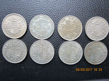 8 PIECES HALF CROWN ROYAUME UNI / 1 GEORGE V 1931 - 5 GEORGE VI - 1 ELISABETH II