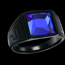 Men's Ring Silver Turkish Handmade Jewelry Sapphire All Size   #TR
