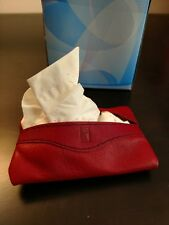 VINTAGE STYLISH RED LEATHER PERSONAL TISSUE PACKAGE HOLDER/BOX/COVER EMBOSSED