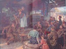 1915 Large Antique Print - Brits' Concert Behind the Lines - France, World War 1