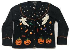 RARE Hampshire Studio BOO! Black Halloween Cardigan Sweater Size Medium