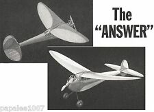 """Model Airplane Plans (FF): THE ANSWER 44"""" Class A/B old-timer by Gordon Murray"""