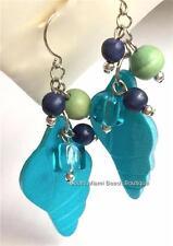 Silver Shell Conch Earrings Sea Life Fair Trade Aqua Blue Island Plated Pierced