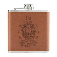 Leo Horoscope 6oz PU Leather Hip Flask Tan - Star Sign Zodiac Birthday