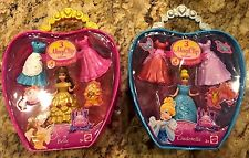 Disney Princess MagiClip BELLE & CINDERELLA Fashion Bag With 3 Dress clips -NEW