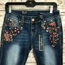 46eda6d77e287 Grace in La Jeans 28 X 33 Boot Cut Embroidered Floral JB 61243a