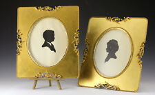 Pair Silhouettes Boy & Girl in Gilt Frames with handmade nails 19th Century