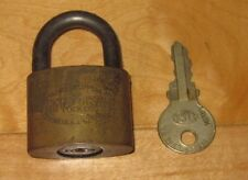 Antique Vtg Old Solid Brass American Lock Co Chicago IL w/ Key Made In USA