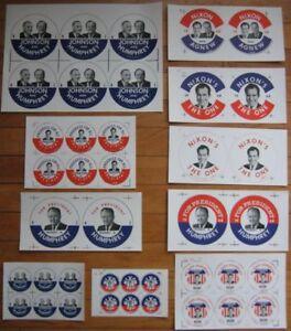 Uncut Political Buttons- Nixon, LBJ, Johnson, Humphrey, Etc., 500 Sheets of 2000