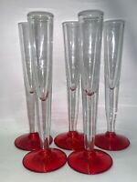 """Set Of 5 Vintage Red Ruby Base Cleat Shots Glasses Rare 7"""" Tall 1 1/8"""" Top."""