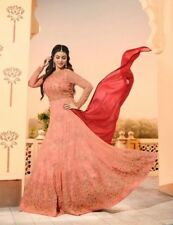 Designer Peach Color Anarkali Salwar in Georgette. Size 38. New. Free Shipping.