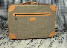 Vintage Antique TWEED PIERRE CARDIN suitcase luggage w/wheels & key