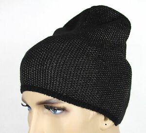 New Gucci Black Beige Wool Cashmere Knit Beanie Hat w/Logo 352350 1079