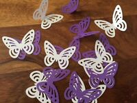 100+ Purple & WHITE large Perfect Table confetti Butterfly butterflies Paper 3D