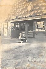 San Diego CA Cancel~Toddler in Kiddy Car~Popcorn Stand~RPPC c1920 PC